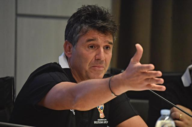 FIFA head of refereeing Massimo Busacca talks during a meeting to explain how the VAR (Video assistant referee) will be used at the World Cup, at the Coverciano sports center, near Florence, Italy, Wednesday, April 18, 2018. (Maurizio Degl'Innocenti/ANSA via AP)