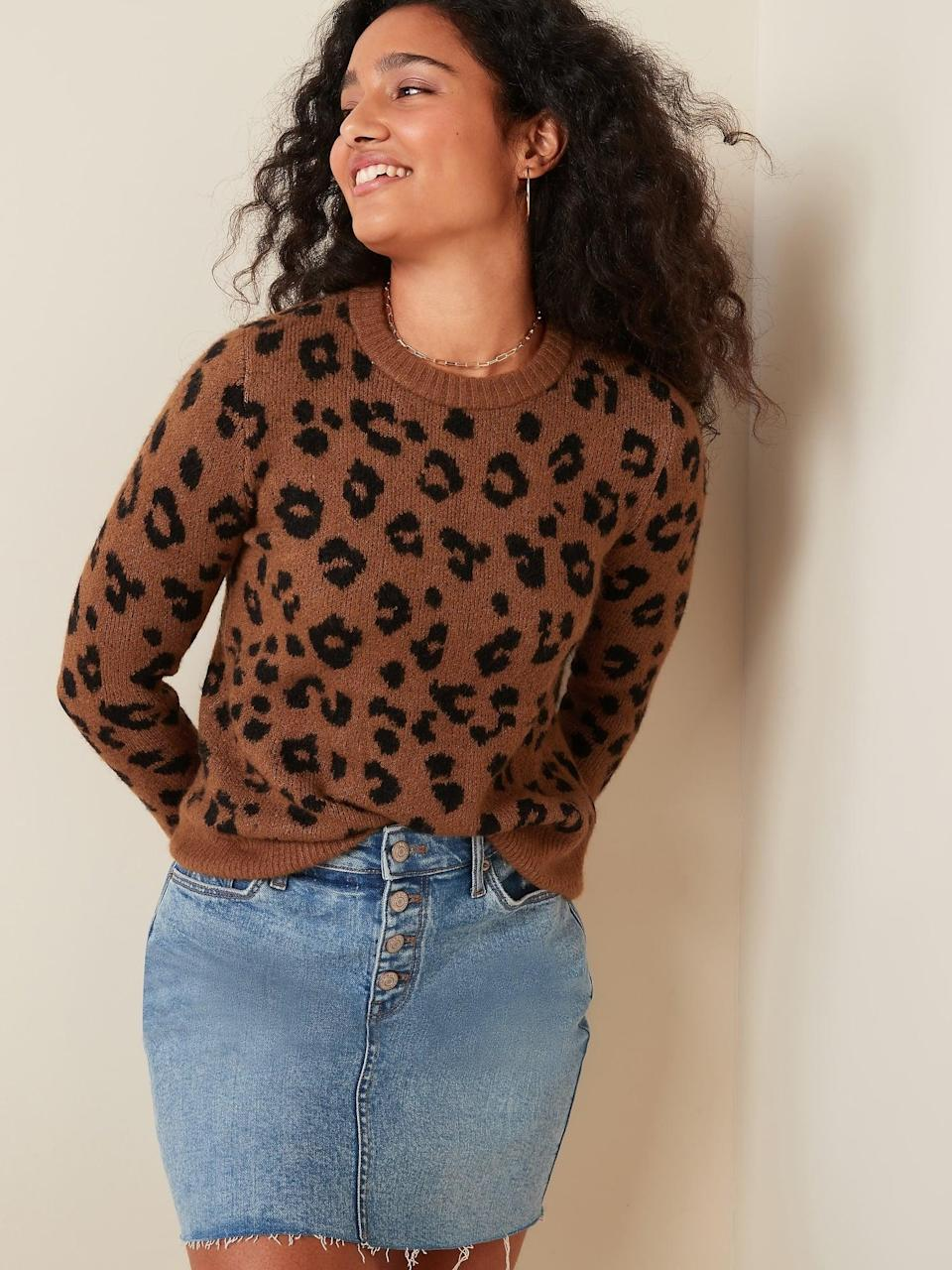 <p>We love the idea of wearing this <span>Cozy Leopard-Print Crew-Neck Sweater </span> ($38, originally $40) with black ripped jeans.</p>
