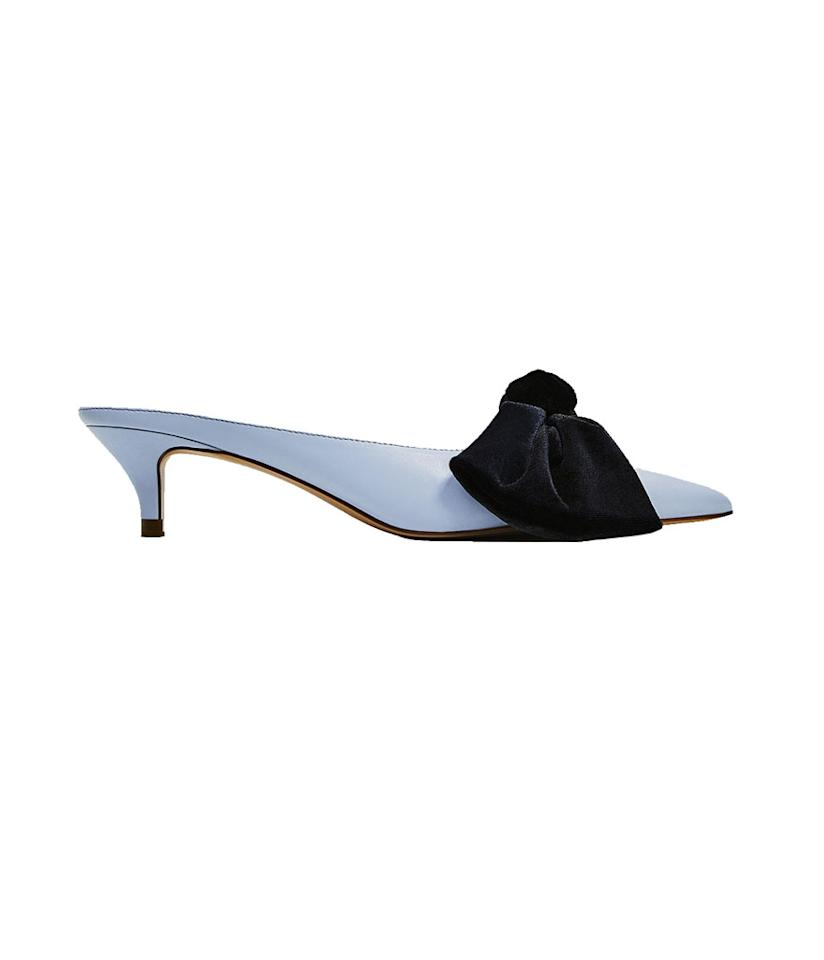 """<p>Heeled Mules with Bow, $40, <a rel=""""nofollow"""" href=""""https://www.zara.com/us/en/woman/shoes/view-all/heeled-mules-with-bow-c719531p4324009.html"""">zara.com</a> </p>"""