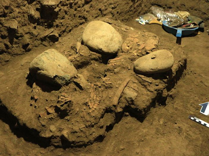 an image of the excavation site shows three boulders encased in dirt, and some skeletal remains