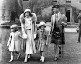 <p>The Duke and Duchess of York accompany Princesses Elizabeth and niece Diana, at Glamis Castle in Angus, Scotland, for the Golden Wedding celebrations of the Earl and Countess of Strathmore, the Duchess's parents.</p>