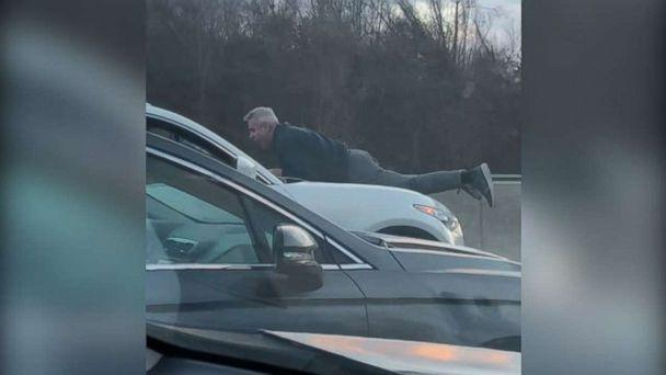 PHOTO: Richard Kamrowski, 65, clung to the hood of a car driving by a man he got involved in a road-rage incident on the Massachusetts Turnpike, Jan. 25, 2019. (Mrs. Schur)