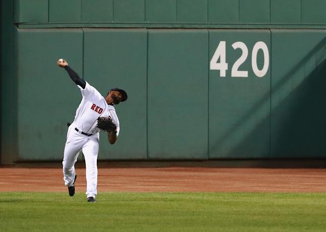 Jackie Bradley Jr. has a cannon for an arm. (Getty Images)