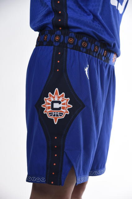 """This photo provided by Connecticut Sun on Thursday, April 8, 2021, shows the new Nike """"Rebel"""" edition uniform for the Connecticut Sun WNBA team. As numerous sports teams continue to come under fire for using Native American names and symbols, The Connecticut Sun is putting them on their new jerseys with the input of the team's owners—the Mohegan Indian tribe. (Connecticut Sun/Khoi Ton via AP)"""