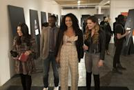 <p>With a blazer draped over this printed jumpsuit, Kat nails the eclectic-chic dress code at an art show. </p>