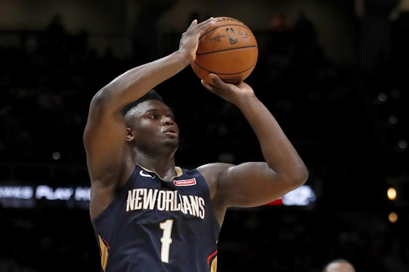 New Orleans Pelicans forward Zion Williamson (1) shoots during the second half of a preseason NBA basketball game against the Atlanta Hawks, Monday, Oct. 7, 2019, in Atlanta. (AP Photo/John Bazemore)