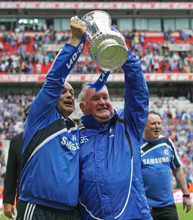 FILE PHOTO: Football - Chelsea v Portsmouth - FA Cup Final - Wembley Stadium - 15/5/10 Chelsea Assistant first team coach Ray Wilkins and Player liaison officer and administrative manager Gary Staker celebrate winning the FA Cup Mandatory Credit: Action Images / Matthew Childs/File Photo