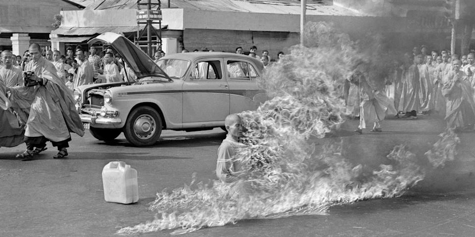 Thich Quang Duc, a Buddhist monk, burns himself to death on a Saigon street on June 11, 1963 to protest persecution of Buddhists by the South Vietnamese government. AP Photo/Malcolm Browne