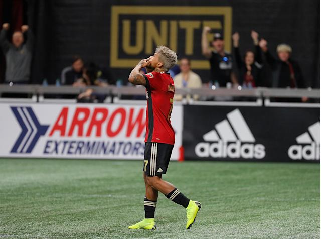 Josef Martinez and Atlanta United are off the the Eastern Conference finals after eliminating New York City FC on Sunday.  (Kevin C. Cox/Getty Images)
