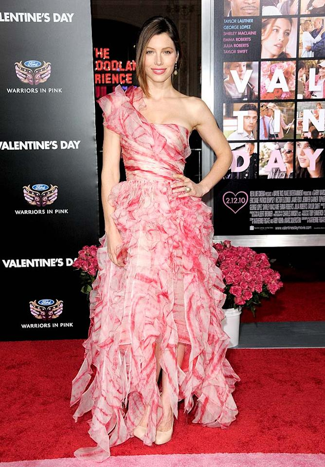 "Jessica Biel didn't do herself any favors by attending the Los Angeles premiere of ""Valentine's Day"" in an over-the-top Oscar de la Renta wreck. Is it just us, or did she look like a wilted carnation? Jordan Strauss/<a href=""http://www.wireimage.com"" target=""new"">WireImage.com</a> - February 8, 2010"