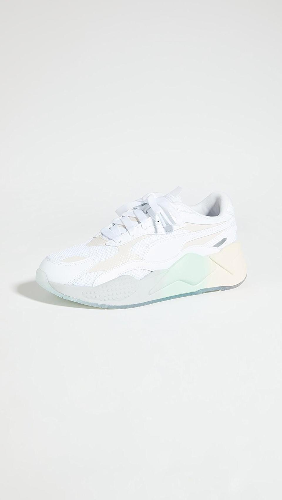 "<p>We're so into the ombre on the bottom of these <a href=""https://www.popsugar.com/buy/PUMA-RS-X-Gradient-Sneakers-568283?p_name=PUMA%20RS-X%20Gradient%20Sneakers&retailer=shopbop.com&pid=568283&price=110&evar1=fit%3Aus&evar9=45192674&evar98=https%3A%2F%2Fwww.popsugar.com%2Ffitness%2Fphoto-gallery%2F45192674%2Fimage%2F47420178%2FPUMA-RS-X-Gradient-Sneakers&list1=shopping%2Cshoes%2Csneakers%2Cnike%2Cadidas%2Crunning%20shoes%2Cworkouts%2Capl%2Cfitness%20shopping&prop13=api&pdata=1"" class=""link rapid-noclick-resp"" rel=""nofollow noopener"" target=""_blank"" data-ylk=""slk:PUMA RS-X Gradient Sneakers"">PUMA RS-X Gradient Sneakers</a> ($110).</p>"