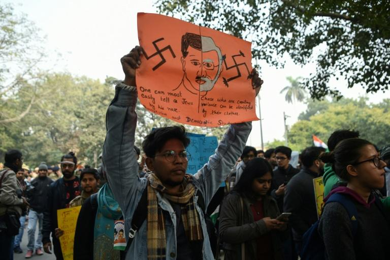 From Netflix to Hitler, protesters are tapping pop culture and history as they vent their anger against Prime Minister Narendra Modi's new citizenship law (AFP Photo/Prakash SINGH                       )