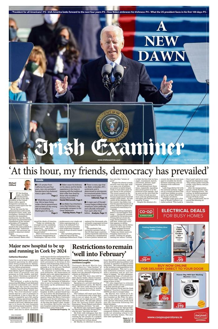 January 21, 2021 front page of the Irish Examiner