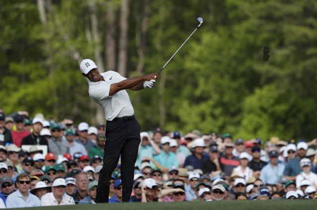 Tiger Woods of the U.S. hits off the 12th tee during second round play of the 2018 Masters golf tournament at the Augusta National Golf Club in Augusta, Georgia, U.S., April 6, 2018. REUTERS/Jonathan Ernst