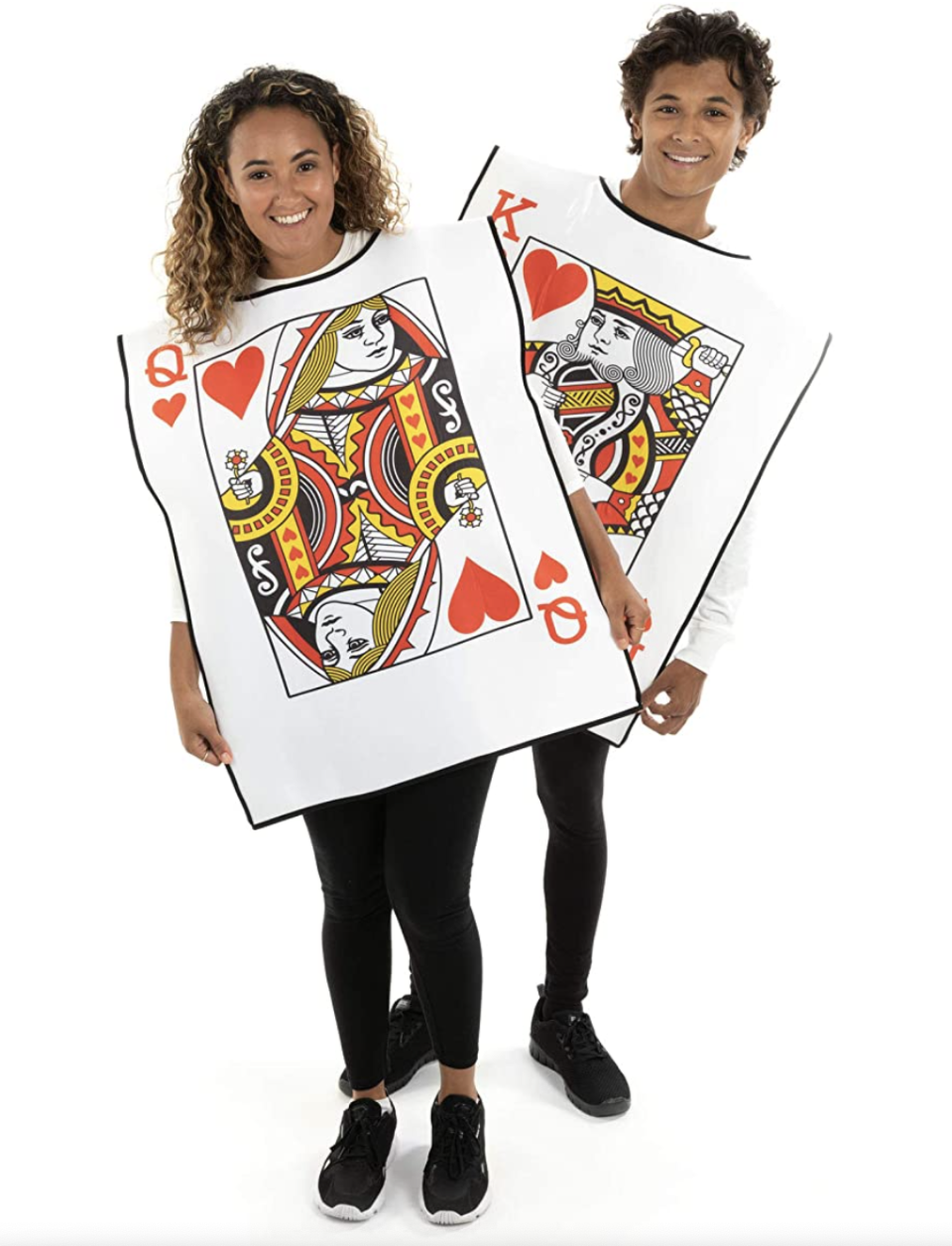 man and woman wearing King and Queen Playing Cards Costumes for halloween