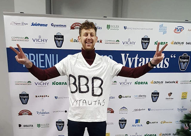 Some BC Vytautas fans donned homemade Big Baller Brand shirts for their game on Saturday. (Jaunius Mališauskas)