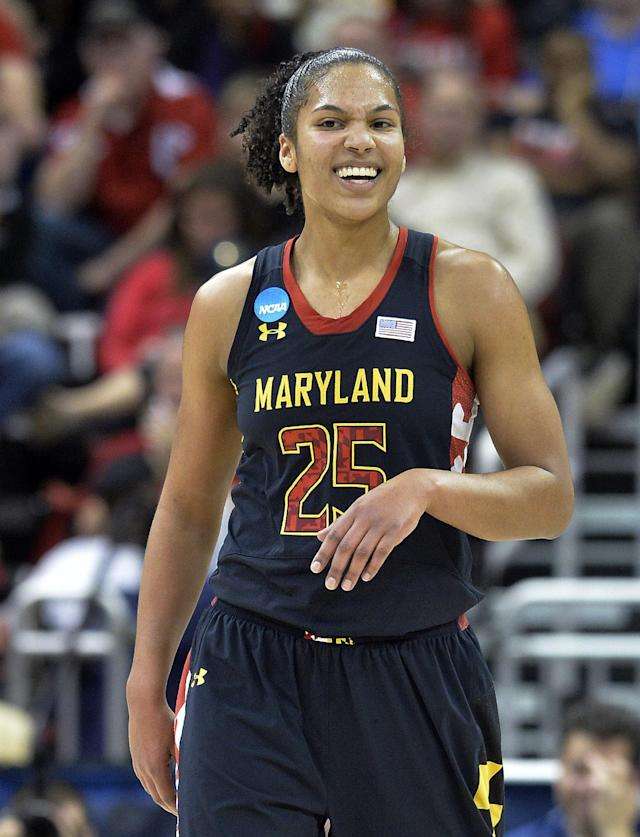 Maryland's Alyssa Thomas smiles following a play during the second half against Louisville in the regional final of the NCAA women's college basketball tournament, Tuesday, April 1, 2014, in Louisville, Ky. Maryland defeated Louisville 76-73. (AP Photo/Timothy D. Easley)