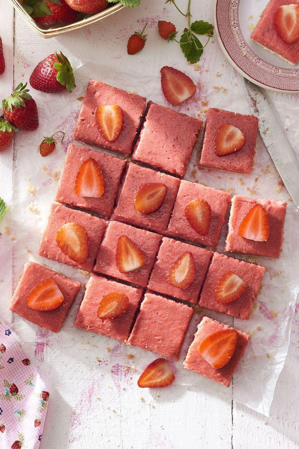 "<p>Strawberry season is here! Get your fix of April's finest fruit with these pretty <em>and </em>pink shortbread bars. </p><p><em><a href=""https://www.countryliving.com/food-drinks/recipes/a41984/strawberry-rhubarb-shortbread-bars-recipe/"" rel=""nofollow noopener"" target=""_blank"" data-ylk=""slk:Get the recipe from Country Living »"" class=""link rapid-noclick-resp"">Get the recipe from Country Living »</a></em> </p>"