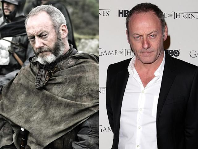 "<b>Liam Cunningham (Davos Seaworth)</b><br><br>That stern stare seems to be a permanent fixture for Liam Cunningham. Without the intense, black and white beard of his ""Games of Thrones"" counterpart Davos Seaworth, Cunningham looks much younger off-screen. Although we still think he's a dead ringer for ""Parks and Recreation's"" Nick Offerman. They could play brothers!"