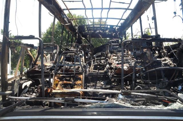 This image provided by the Bulgarian Interior Ministry Thursday July 19, 2012, shows the interior of a damaged bus following Wednesday's deadly suicide attack on a bus full of Israeli vacationers at the Burgas airport parking lot, Burgas, Bulgaria. The attack occurred shortly after the Israelis boarded a bus outside the airport in the Black Sea resort town of Burgas, a popular destination for Israeli tourists — particularly for high school graduates before they are drafted into military service. Burgas is about 400 kilometers (250 miles) east of the capital, Sofia. (AP Photo/Bulgarian Interior Ministry)