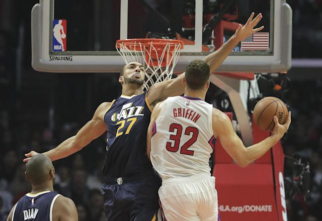 Defensive Player of the Year candidate Rudy Gobert will have his hands full stopping Blake Griffin and the Clippers' high-powered offense. (AP)