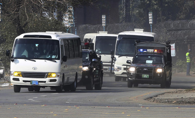 Police commandos escort vehicles carrying the Bangladesh cricket team as they arrive at the Gaddafi stadium for the second T20 cricket match against Pakistan, in Lahore, Pakistan, Saturday, Jan. 25, 2020. (AP Photo/K.M. Chaudary)