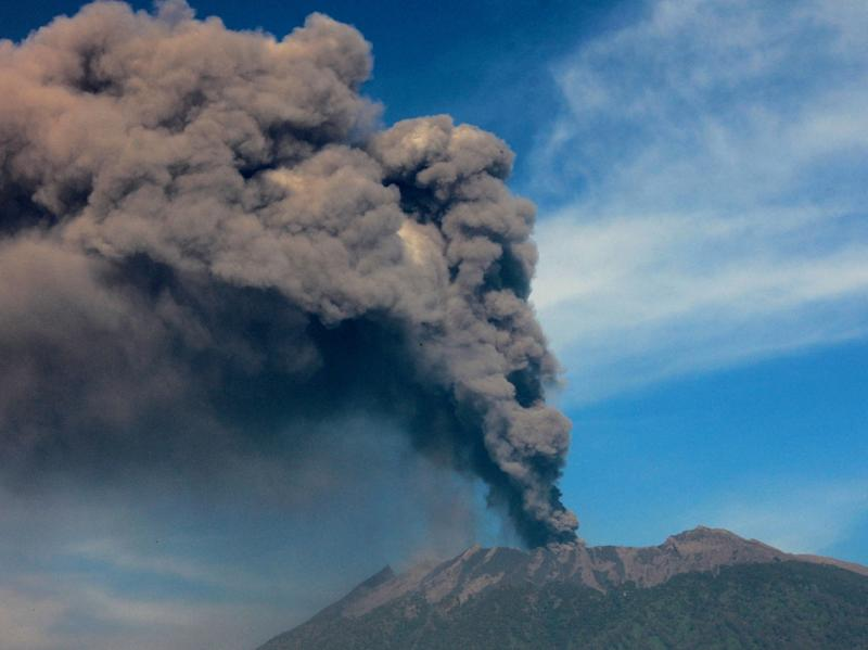 The 3,300-metre (10,800-foot) Mount Raung on Indonesia's main island of Java, which has been rumbling for weeks, pictured earlier this month (AFP Photo/Widarsha )