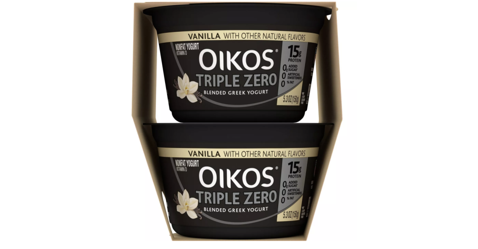 """<p>Oikos Triple Zero boasts 15 grams of protein and zero added sugar, artifical sweeteners, or fat. They taste good enough to be enjoyed alone, but are also a perfect blank slate for fruit or other toppings.</p><p><a class=""""link rapid-noclick-resp"""" href=""""https://www.target.com/p/dannon-oikos-triple-zero-greek-vanilla-5-3oz-4pk/-/A-24013290"""" rel=""""nofollow noopener"""" target=""""_blank"""" data-ylk=""""slk:BUY NOW""""><em>BUY NOW</em></a> <em><strong>Oikos Triple Zero, $3.99, target.com </strong></em></p>"""