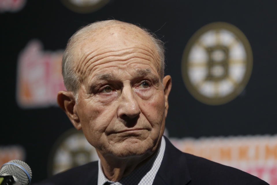 Boston Bruins hockey team owner Jeremy Jacobs listens during a news conference to reflect on this past season, Tuesday, May 2, 2017, in Boston. The Bruins made it back to the playoffs for the first time in three seasons before losing game six to the Ottawa Senators. (AP Photo/Elise Amendola)