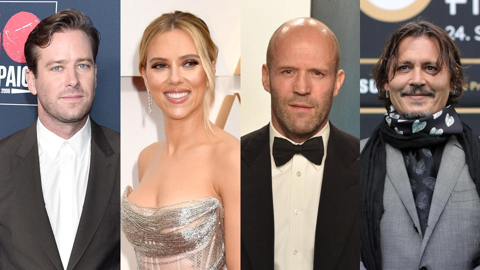 Armie Hammer, Scarlett Johansson, Jason Statham and Johnny Depp. (Credit: Gregg DeGuire/FilmMagic/Jeff Kravitz/David Crotty/Patrick McMullan/Andreas Rentz/ZFF/Getty)