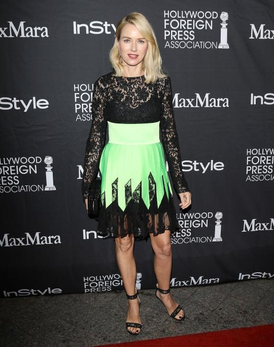 <p>Naomi Watts was a fashion-forward vision in lime green and black separates from Fausto Puglisi.</p>