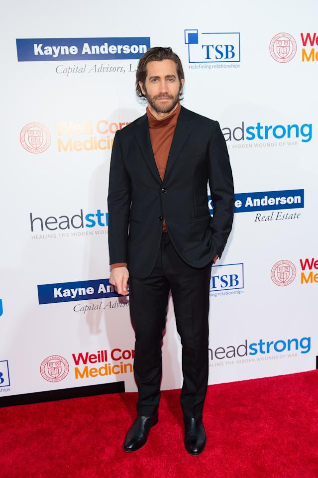 <p>WHERE: The 7th Annual Headstrong Gala in New York</p> <p>WHEN: October 17, 2019</p> <p>WHY: Gyllenhaal's oversized turtleneck makes his serious suit feel refreshingly less so.</p>