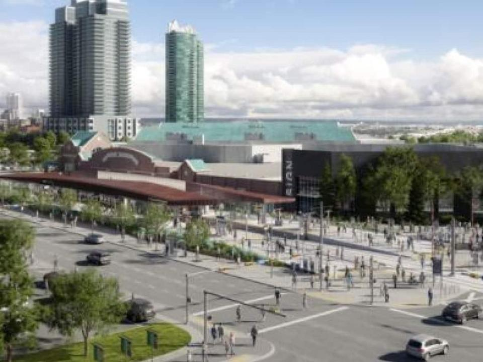 An artist's rendering shows what the new Stampede/Victoria Park LRT station will look like.  (CMLC - image credit)
