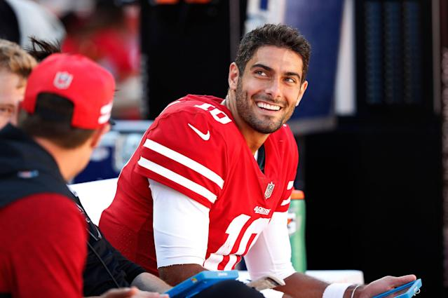 Can Jimmy Garoppolo put the 2018 season behind him and improve on his 2017 effort? Yahoo Fanalyst Liz Loza digs in. (AP Photo/Tony Avelar)