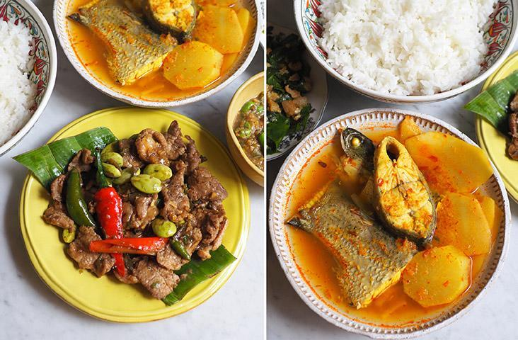 Dine on 'muu pad gapi' or stir fried tender pork slices with 'petai' and shrimp paste (left). It's rare to get this 'Geng leuang pla gab Nor mai dong' which is a sour yellow curry that has perfectly poached sea bass paired with fresh bamboo shoots (right)
