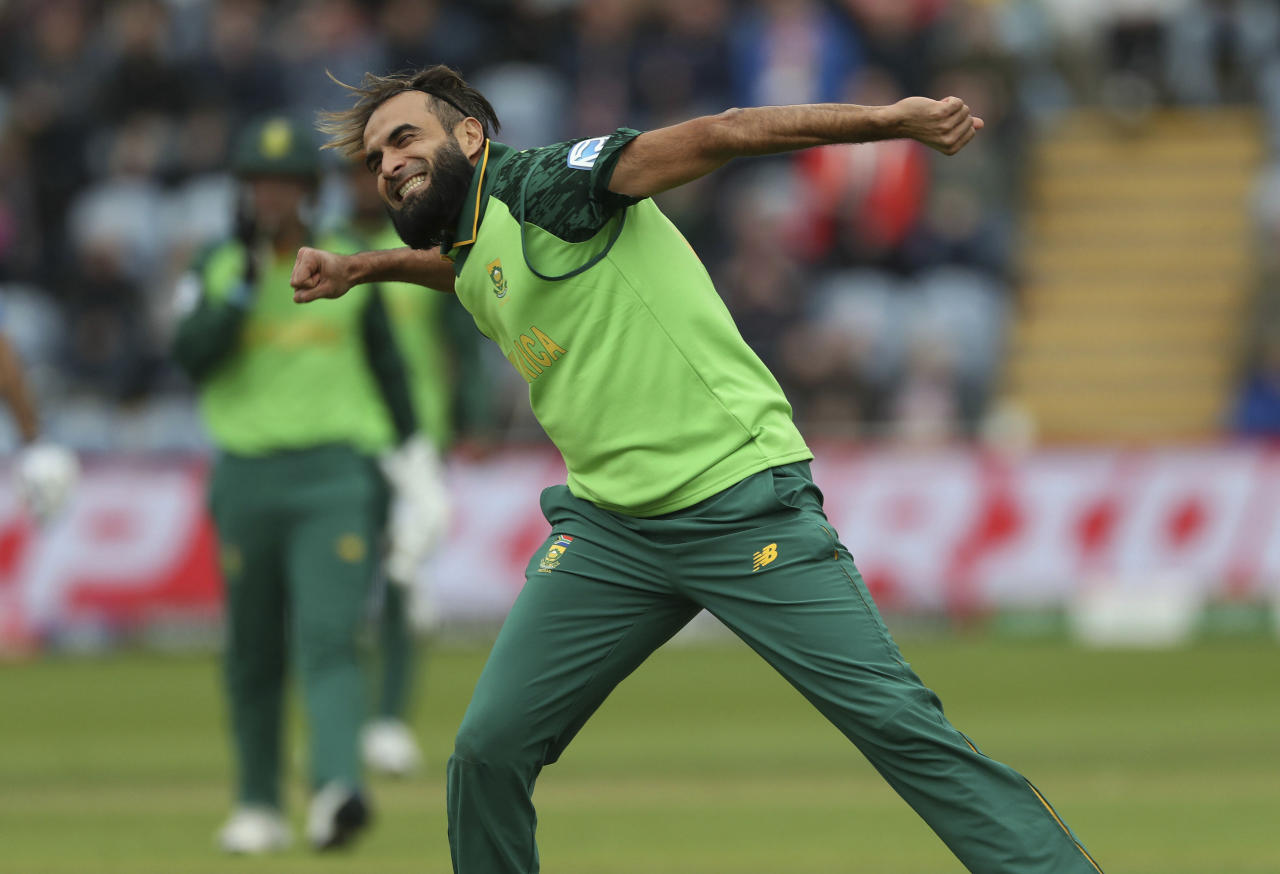 South Africa's Imran Tahir celebrates taking the wicket of of Afghanistan's Asghar Afghan during the ICC Cricket World Cup group stage match at The Cardiff Wales Stadium in Cardiff, Wales, Saturday June 15, 2019.  (David Davies/PA via AP)