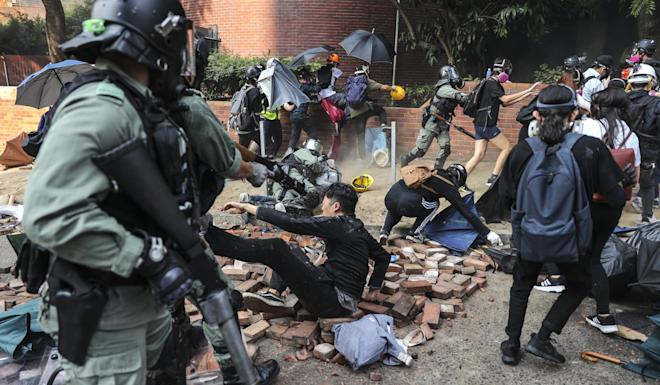 More than 1,100 arrests have been made since last week over the violent clashes and subsequent siege at PolyU, which has become a stalemate. Photo: Sam Tsang