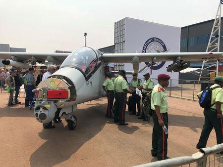 Paramount Group military aircraft are seen on display at the Africa Aerospace and Defence expo at the Waterkloof Air Force Base near Pretoria