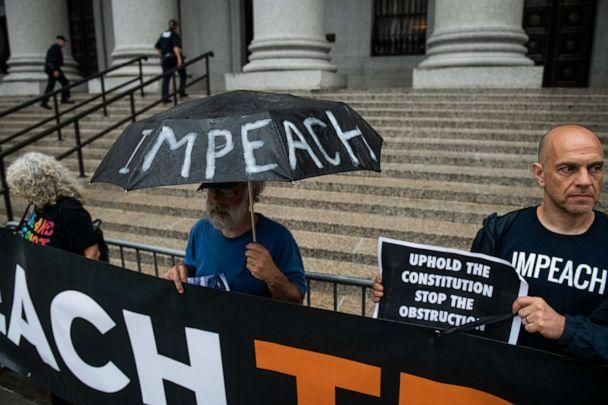 PHOTO: Demonstrators holds signs during a protest against U.S. President Donald Trump outside federal court ahead of the Trump v. Deutsche Bank AG hearing in New York, Aug. 23, 2019. (Bloomberg via Getty Images)