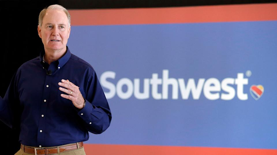 Mandatory Credit: Photo by Pat Sullivan/AP/Shutterstock (5819727a)Gary KellySouthwest Airlines CEO press preview, Houston, USA - 08 Oct 2015Southwest Airlines CEO Gary Kelly speaks during a preview of the new international concourse at Houston Hobby Airport in Houston.