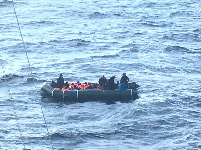 Undated handout photo issued by the Maritime Prefecture of the Channel and the North Sea of migrants on boats after being intercepted by French Authorities. Ten children have been rescued in the English Channel after spending several hours trying to reach the UK.
