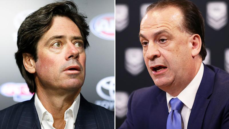 Seen here, AFL CEO Gillon McLachlan and ARLC Chairman Peter V'landys.