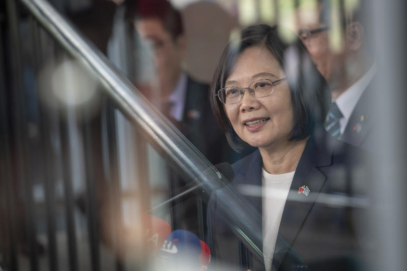 "In this photo released by the Taiwan Presidential Office, Taiwanese President Tsai Ing-wen arrives in St. Lucia on Thursday, July 18, 2019. Tsai said she would follow ""humanitarian principles"" in dealing with asylum seekers from Hong Kong during a visit this week to Saint Lucia, an eastern Caribbean island nation that is among Taiwan's few remaining allies. (Taiwan Presidential Office via AP)"