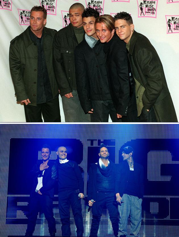 Big reunion bands then and now: Five's original line up featured five (funnily enough) loud lads [top] Now, the band only has four members after Jay pulled out of the Big Reunion TV show and gig [below] Copyright [PA/Rex]