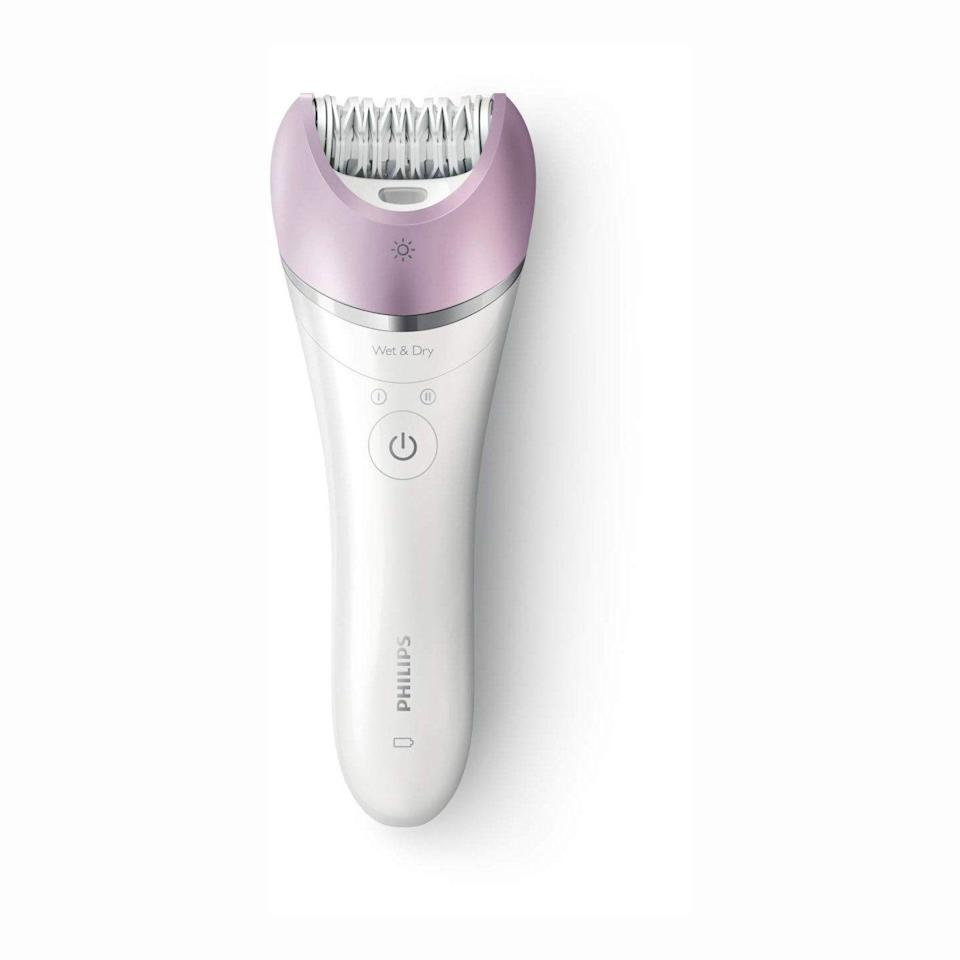 "<p><strong>Philips Beauty</strong></p><p>amazon.com</p><p><strong>$64.19</strong></p><p><a href=""https://www.amazon.com/dp/B07L5G4ZHM?tag=syn-yahoo-20&ascsubtag=%5Bartid%7C10055.g.31004034%5Bsrc%7Cyahoo-us"" rel=""nofollow noopener"" target=""_blank"" data-ylk=""slk:Shop Now"" class=""link rapid-noclick-resp"">Shop Now</a></p><p>Thanks to its micro-ridged technology, the Satinelle epilator <strong>claims to catch hairs as short as 0.5 mm without pulling skin</strong>, in turn letting you avoid having to wait for hair to grow in between hair removal. Included precision caps let you target smaller areas, like on the face or bikini line. ""The tweezing disks are like smooth plastic feel and doesn't irritate sensitive skin,"" says one Amazon reviewer. ""It pulls out hair the first time so I don't have to go over and over the same spot. I almost don't feel it at all."" </p>"