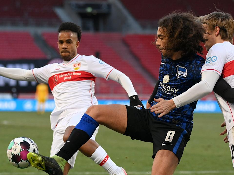 <p>Matteo Guendouzi (centre) in action for Hertha</p> (Getty Images)