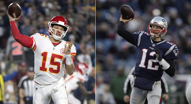 Patrick Mahomes and Tom Brady are ready to lead you to Yahoo Daily Fantasy glory. (AP Photo/File)