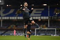 Manchester City midfielder Bernardo Silva celebrates scoring at Everton