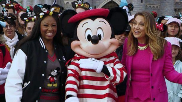 PHOTO: ABC News' Ginger Zee and Disney super fan, Patrice Jenkins, a teacher from Hinsdale, Illinois, visit Disneyland Paris. (ABC News)