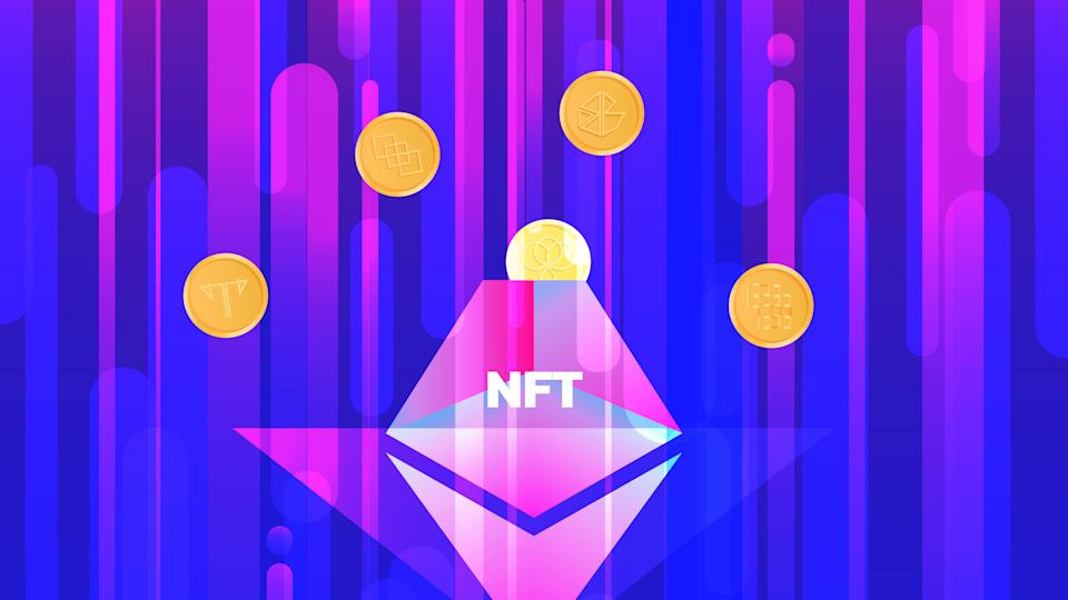Vector illustration banner with NTF coins and volcano. Nonfungible  unique cryptocurrency. Bright background horizontal format